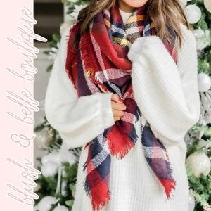 Seasonal Closeout NAVY & RED | Plaid Blanket Scarf
